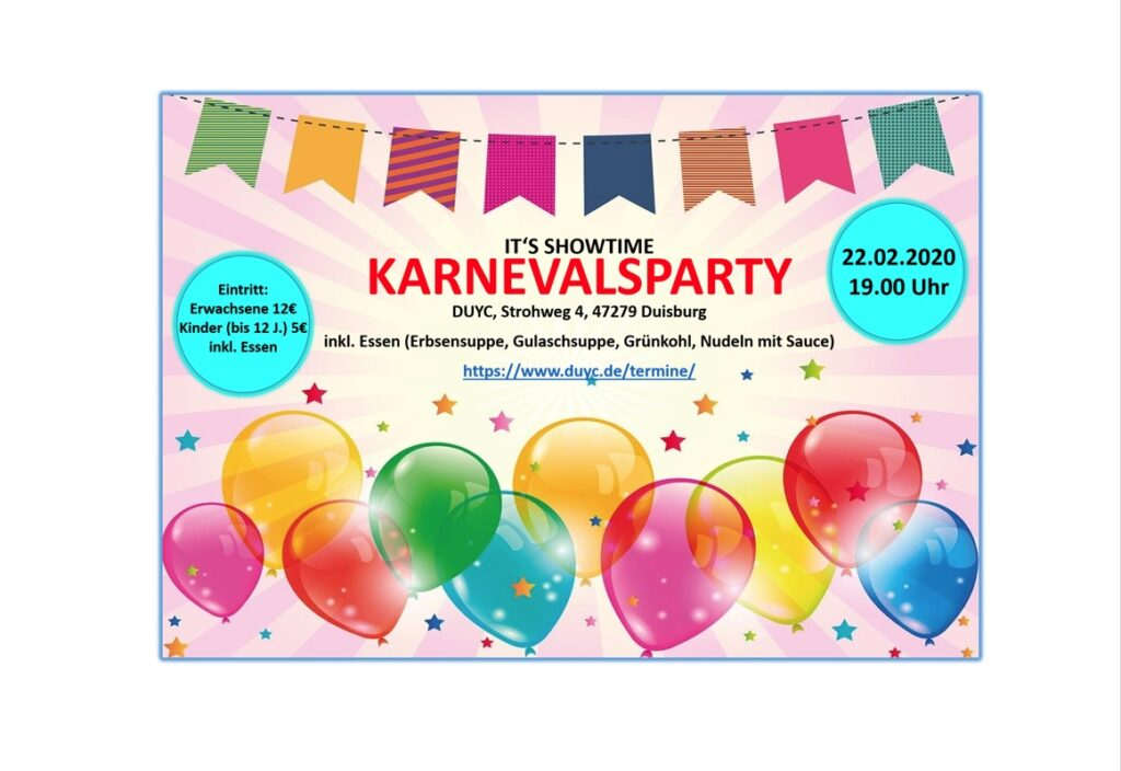 Karnevalsparty am 22. Februar ab 19 Uhr 2